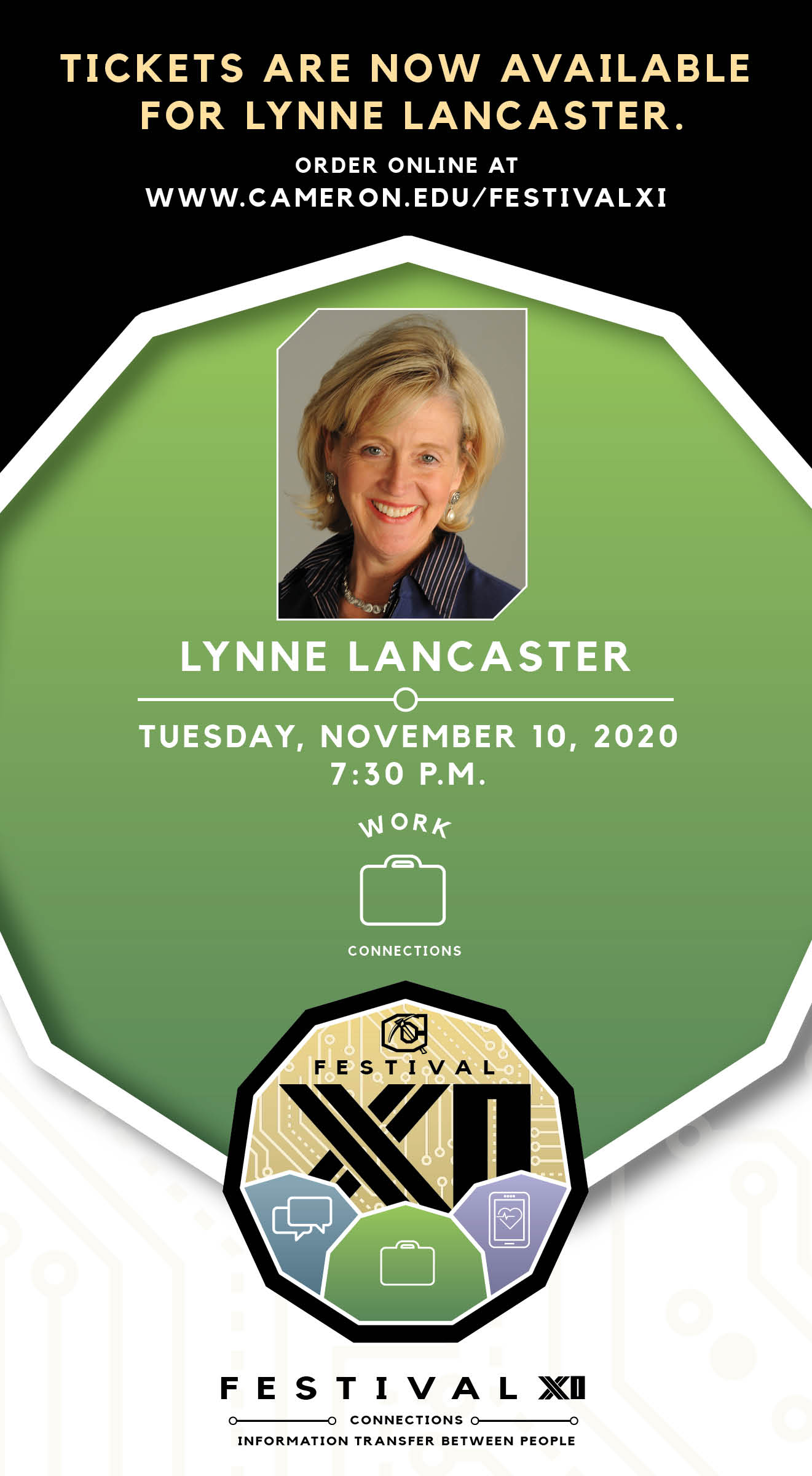 Tickets are now available for Lynne Lancaster. Order online at www.cameron.edu/festivalxi Tuesday, Nov 10 7:30 p.m.
